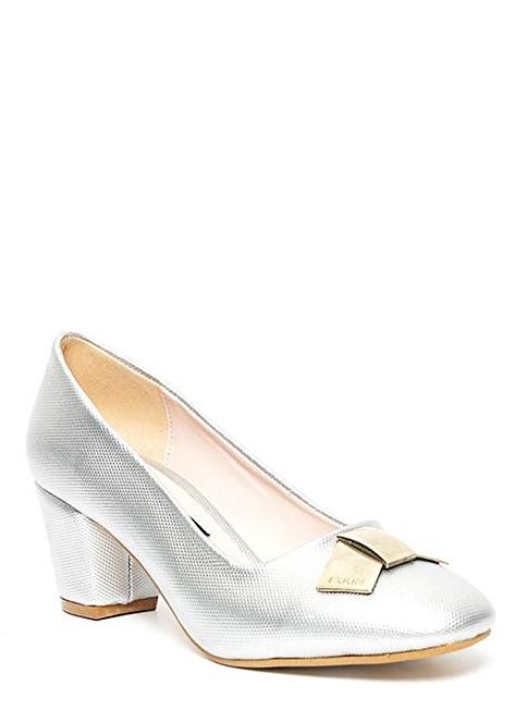 Kuum Kalın Topuklu Ayakkabı Gümüş